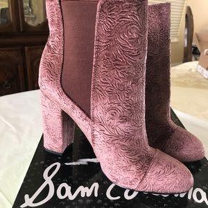 Sam Edelman Case Embossed Velvet Ankle Booties